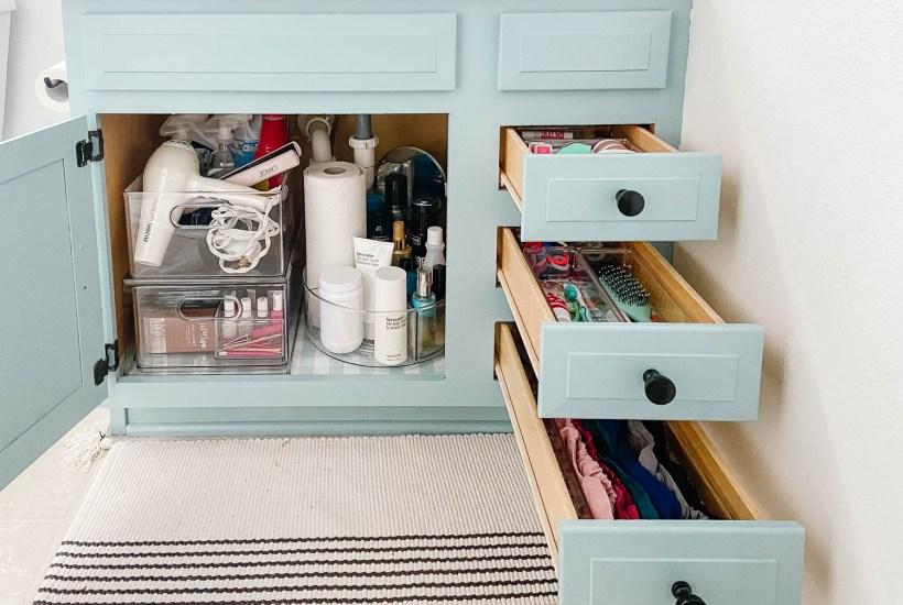 organized bathroom vanity
