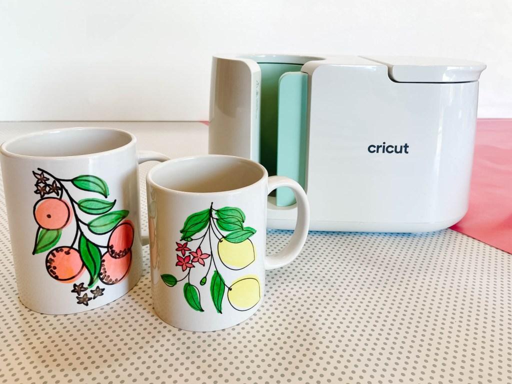 2 DIY mugs and Cricut Mug Press