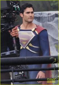 Tyler Hoechlin On The Set Of 'Supergirl'
