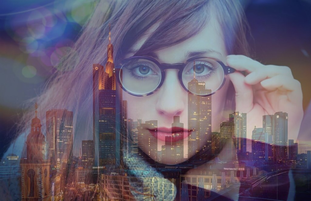 girl wearing glasses reflection of city see clearly