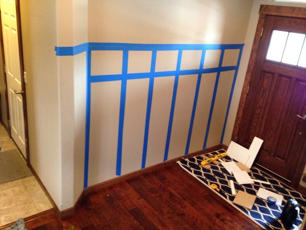 taping layout onto wall for entryway upgrade