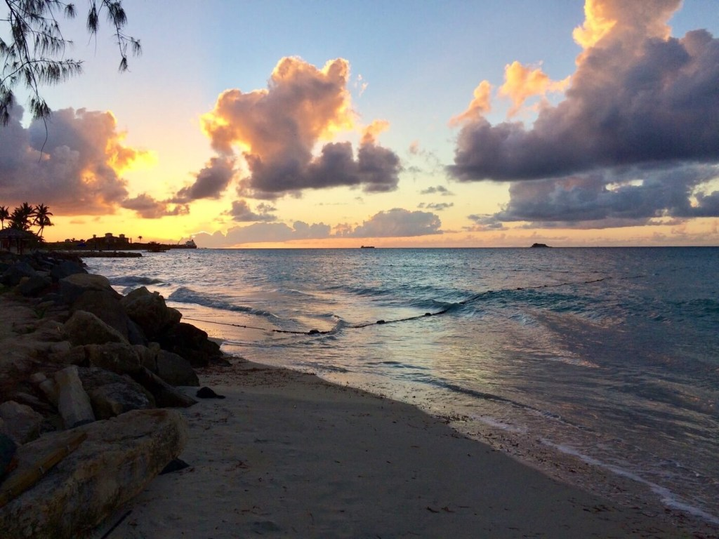 sunset walk along beach