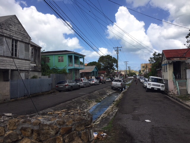 streets in town of St. Johns, Antigua, a developing country