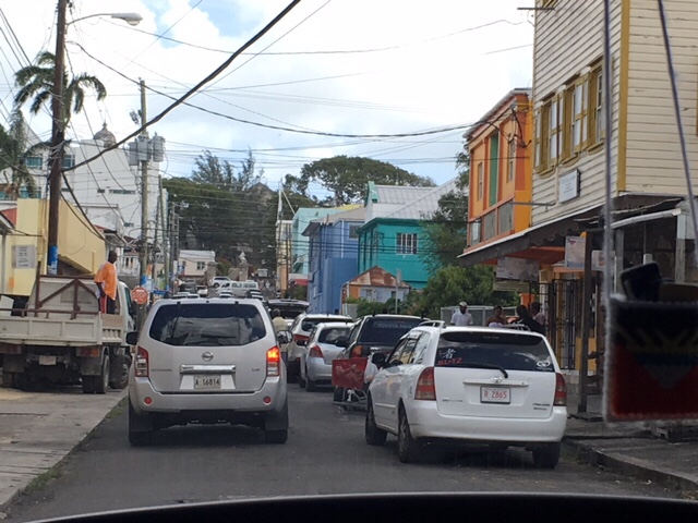 cars driving in a developing country, St Johns, Antigua