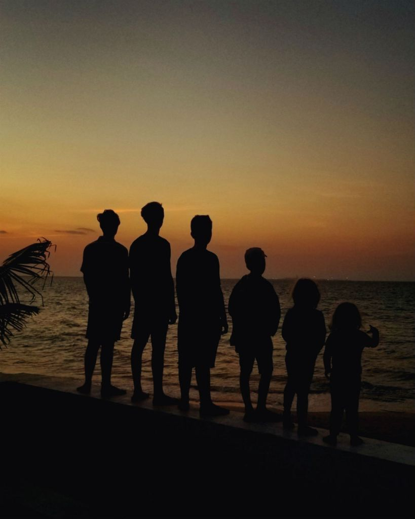 silhouettes of six children overlooking the ocean at sunset