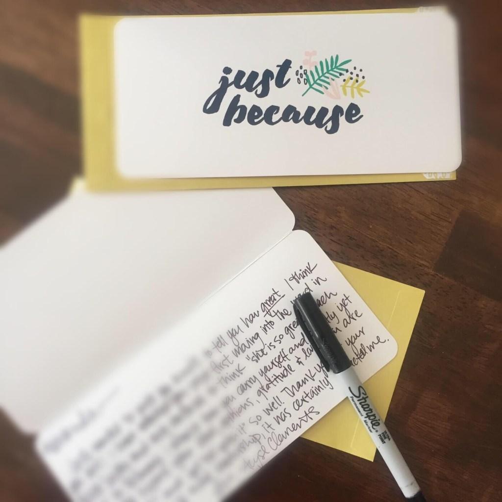 handwritten note to a friend