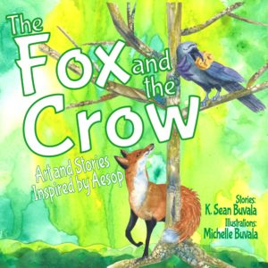 cover of fo and crow book showing fox looking up a tree at a crow with piece of cheese in her mouth. watercolor collage pictures