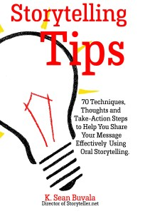 cover of storytelling tips book white cover with a drawing of a lighbulb that bleeds off the page.