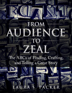 the cover of the audience to zeal book by Laura packer. the title of the book is in the center imposed over a full page image of old-fashioned printers blocks, some stained blue