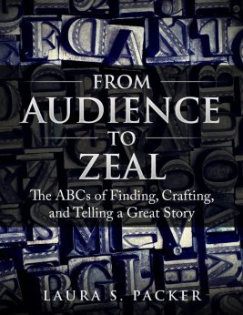 the cover of the audience to zeal book by laura packer. the title of the book is in the center imposed over a full-page image of old-fashioned printers blocks, some stained blue