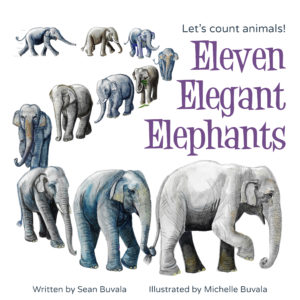 the cover of the book featuring a wandering line of elephants that were painted with watercolor
