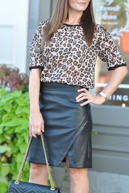 Leopard Top + Faux Leather Skirt