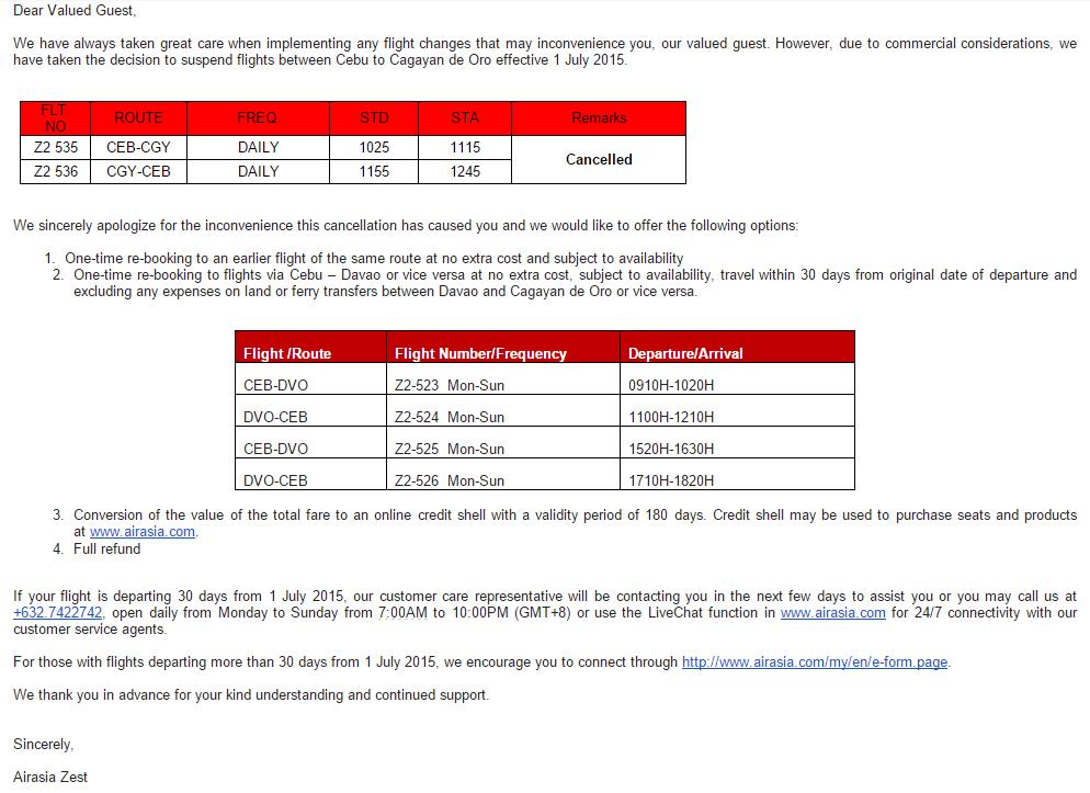 Air Asia Cebu Cagayan de Oro flights cancelled