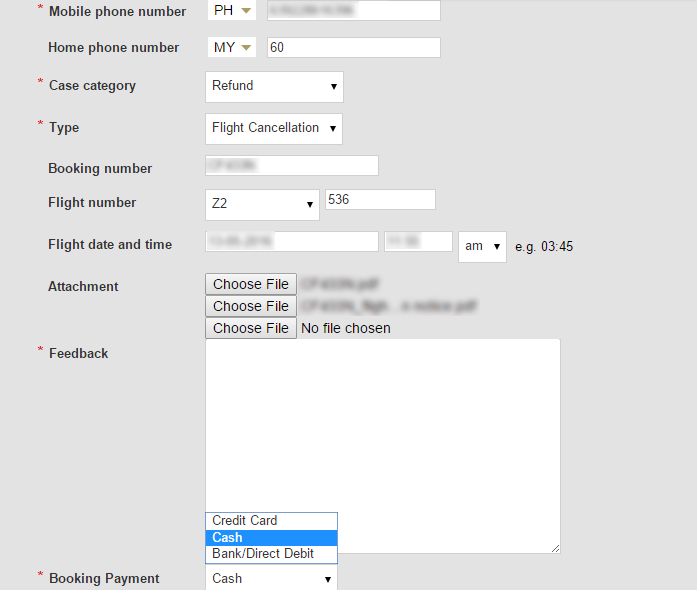 Air Asia online form for refunds