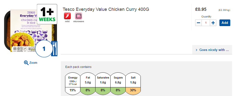 Tesco chicken curry