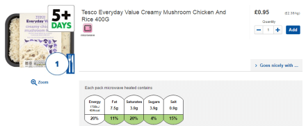 Tesco creamy mushroom chicken and rice