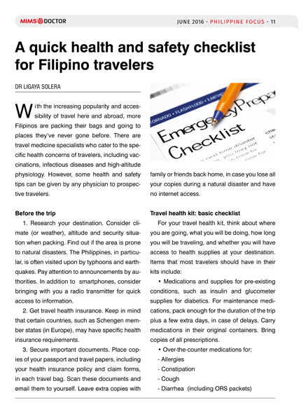 A quick health and safety checklist for Filipino travelers