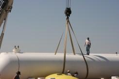 Crane Ready to Lift Tank