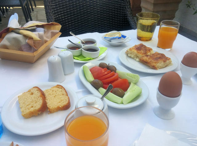 Breakfast at Pension Irini in Ouranoupolis, Greece.