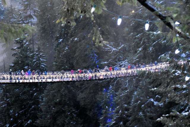 Walking across the Capilano Suspension Bridge in North Vancouver, British Columbia.