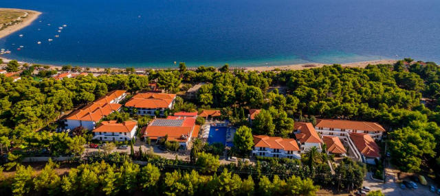 Ariel shot of the Philoxenia Hotel in Psakoudia, Greece.