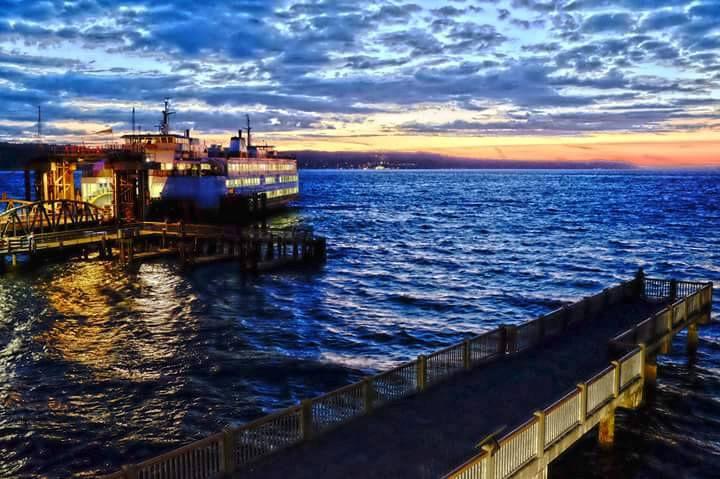 Ferry at night in Mukilteo, Washington.