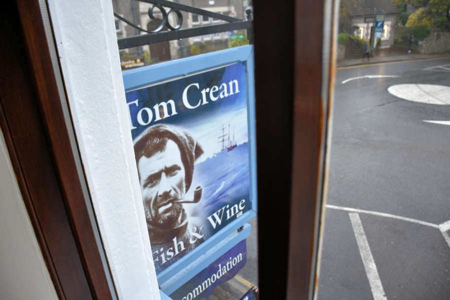 Sign at Tom Crean Fish & Wine & Accommodation in Kenmare, Ireland.