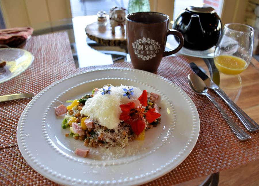 Gourmet breakfast at Warm Springs Inn & Winery in Wenatchee, Washington.