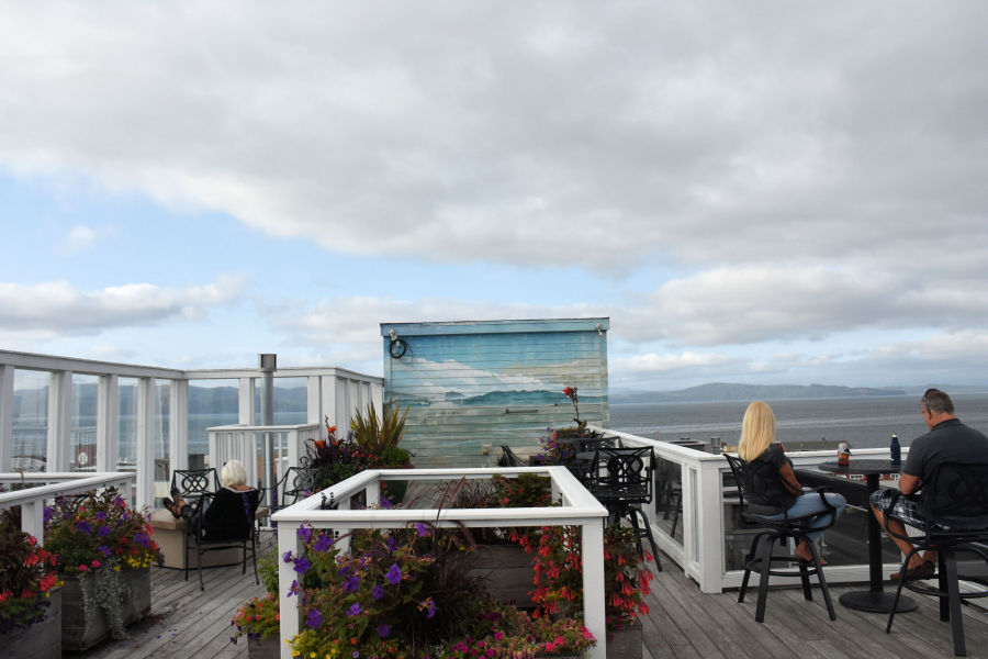 Views on the rooftop terrace at the Hotel Elliot in Astoria, Oregon.