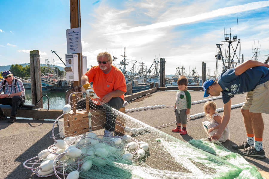 A fisherman at SeaFeast in Bellingham, Washington.