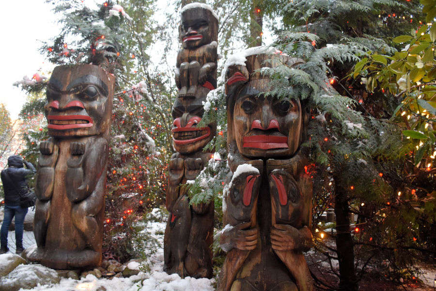 Totem poles at the Capilano Suspension Bridge.