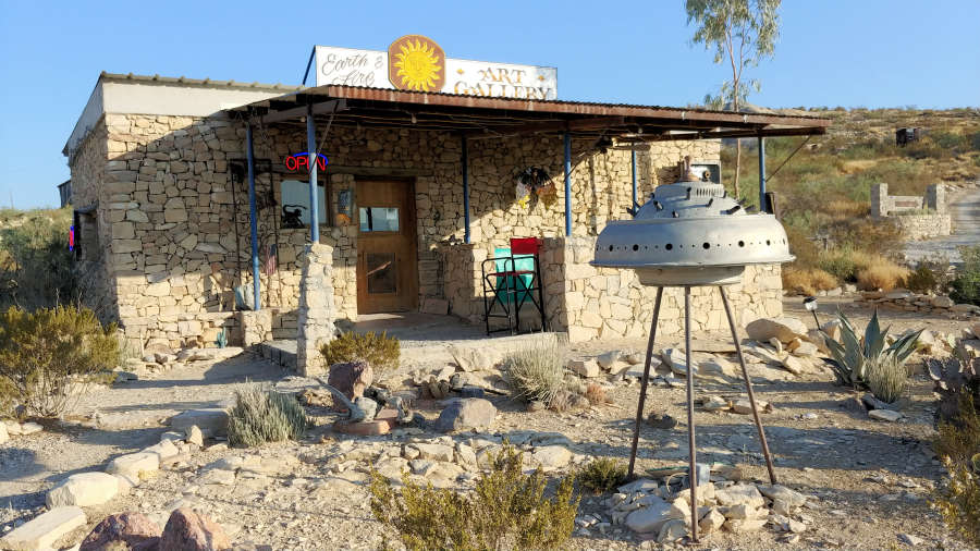 Earth and Fire Art Gallery in Terlingua, Texas.