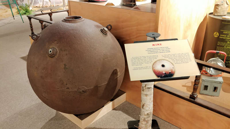 Japanese mine at the North Lincoln County Historical Museum.