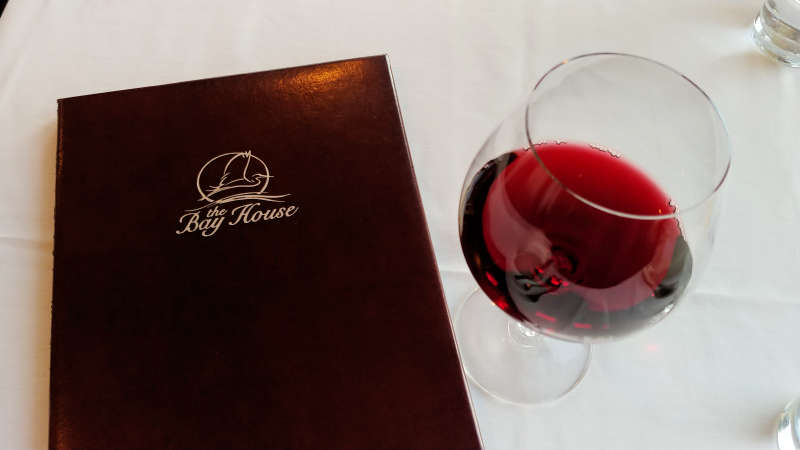A glass of red wine at The Bay House in Lincoln City, Oregon.