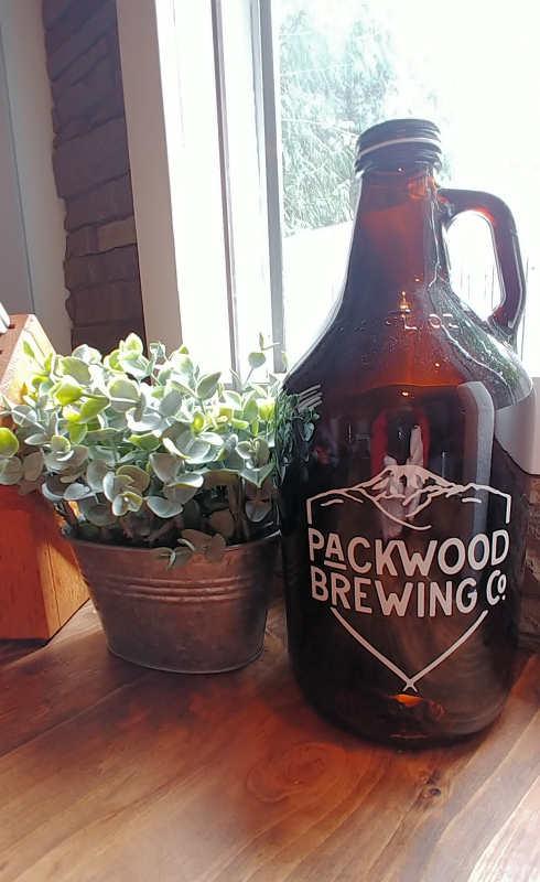 Packwood Brewing Company growler at Millard's Cabin in Packwood, Washington.
