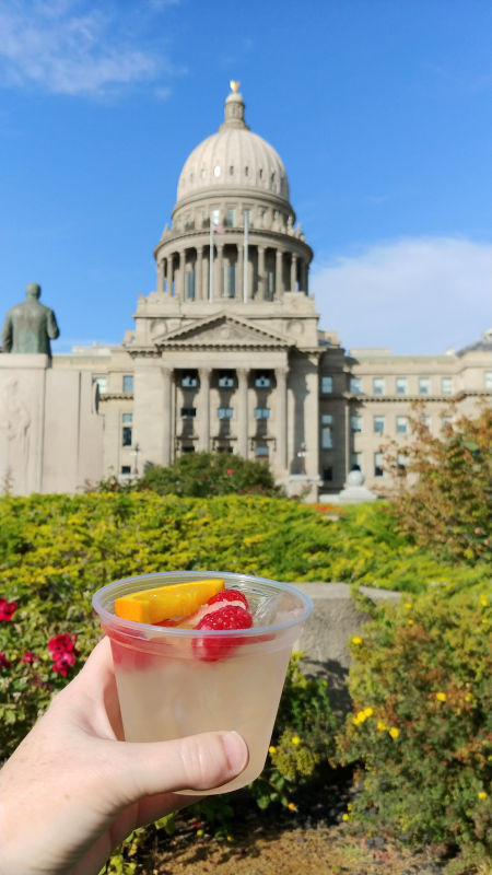 A glass of jalepeno wine at the Idaho Statehouse for Capital Table.