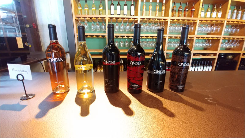 A row of Cinder wines.