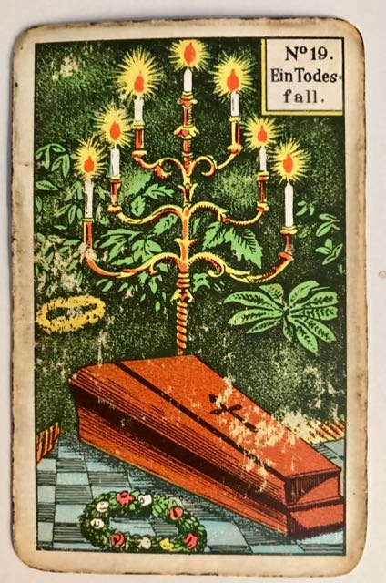 Kipper-card No 19: Death. Illustration of a coffin and candelabra.