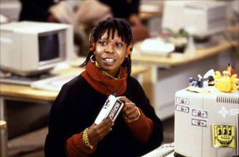 film still from Jumping Jack Flash - Whoopi Goldberg in front of computer
