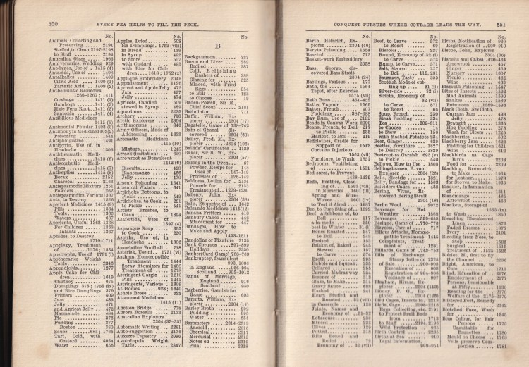 sample index pages from Enquire Within Upon Everything (Animals to  Blue Colour)