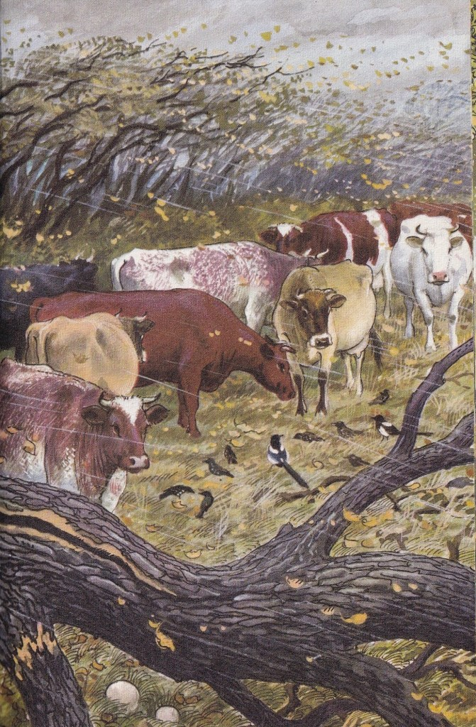 illustration of cows in an autumn gale