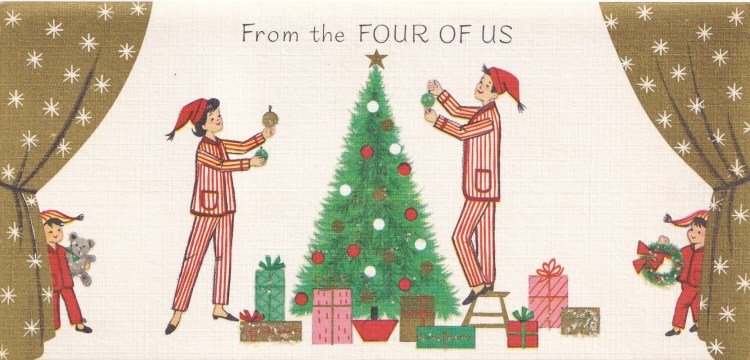 Family of four decorating the Christmas Tree - 1960s  greeting card by Rust Craft