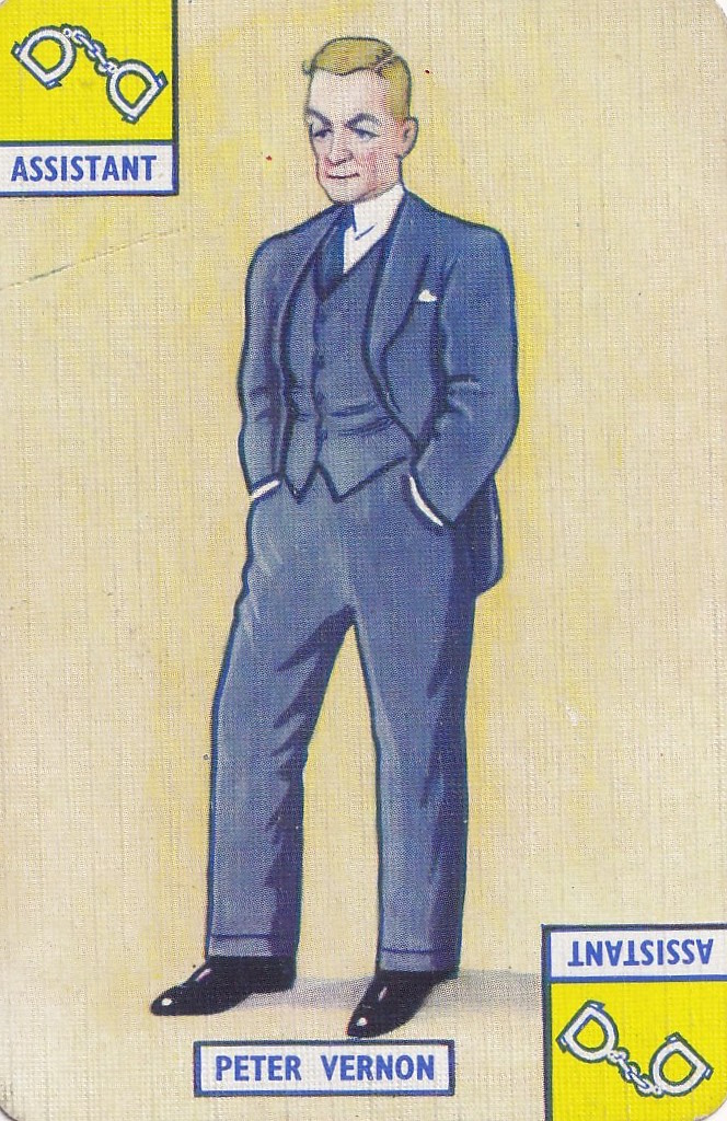 vintage playing card - drawn image of Peter Vernon - assistant