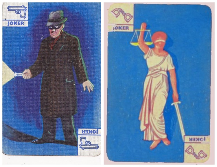 vintage playing card jokers, one with a drawing of a masked thief at night-time with a flashlight, the other a drawing of Justice