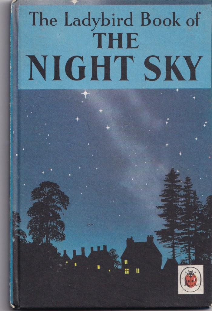 cover image of the Ladybird book of the Night sky. Black silhouettes of houses and trees against dark blue night sky