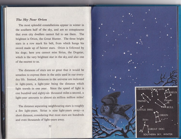 excerpt from The Nightsky (a Ladybird book). One page of text, one page illustrating the sky near Orion