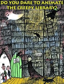 Creepy Library workshop poster for series of animation workshops held in Birmingham 2013