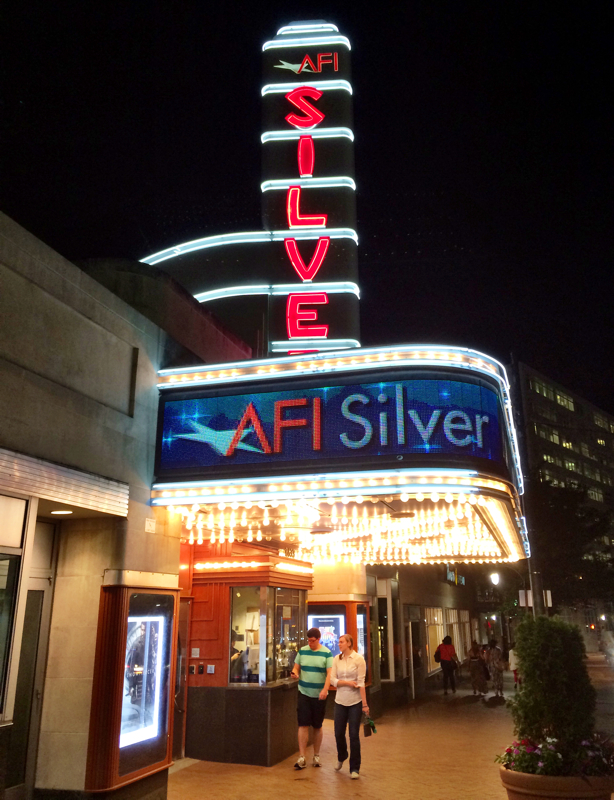 Couple leaving the AFI Silver Theatre in Silver Spring, Maryland