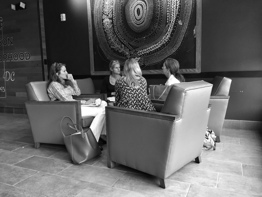 four women meeting for breakfast at Starbucks in Washington DC