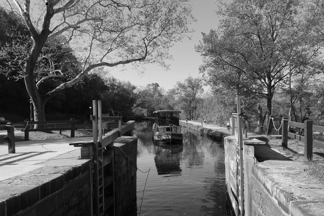 Narrow boat on the C & O Canal in Potomac, Maryland